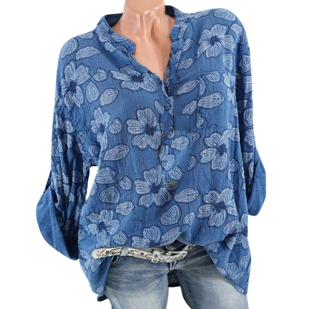 86e775eeec2 2019 Bohemian Style Women Plus Size Long Sleeve Blouse Ladies Floral Print  Blouse Pullover Tops Shirt Blusas Femininas Elegante From Mci studio