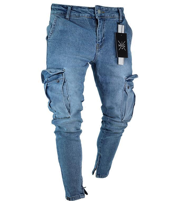 ff4d6b0017705 2019 Zerrissene Jeans Gute Qualität Stretch Männer Jeans Trend Knie Löcher  Reißverschluss Füße Hose Großhandel Einzelhandel Füße elastische ...