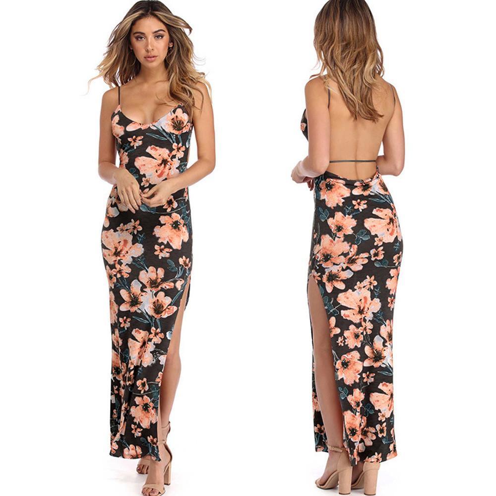 6ad8c9d3ff441 Moda 2019 maxi vestido para mujer floral impreso Camis vaina Backless medio  partido partido atractivo vestidos largos Robe Longue Femme