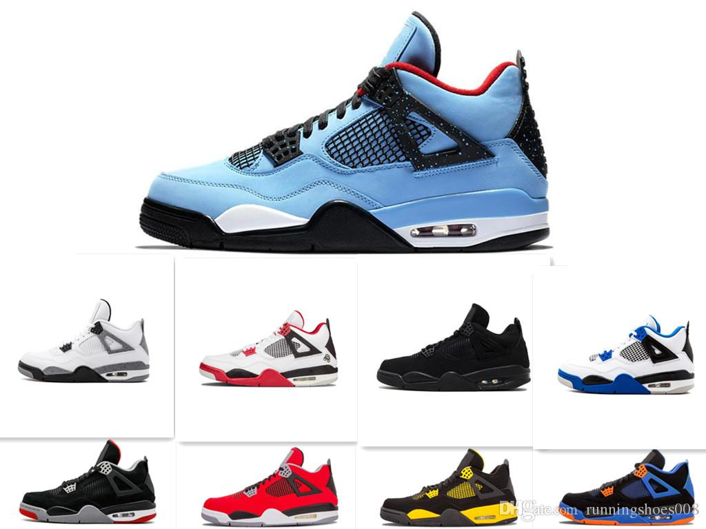 146beef2b7ed 2019 Men Basketball Shoes Travis X Sports Shoe Houston Oilers 4s Cactus  Jack Pure Money Raptors Cement Black Cat Bred Motosports Sneakers 40 47 From  ...