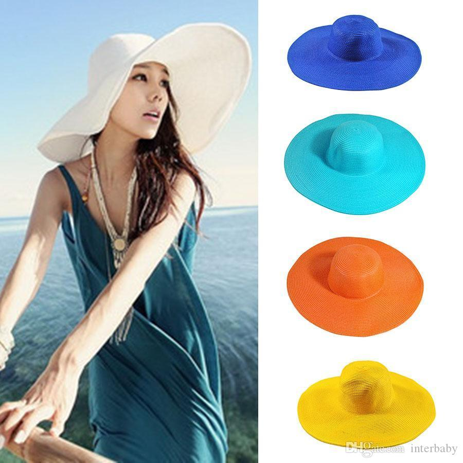 564257ec7 Seaside Sun Hat Female Summer Sun Hats For Women Beach Sun Cap Lady Large  Brimmed Straw Sunshdow Hats Folding Beach Girls Caps YFA778