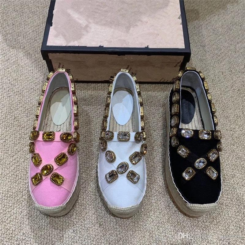 Designer shoes platform Espadrilles luxury golden fashion luxury designer women shoes luxe triple gem ribbon size35-41