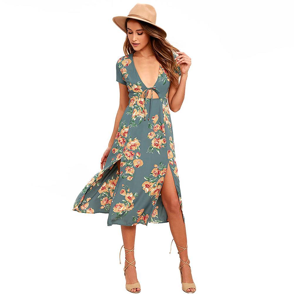 Women Sexy Side Split Dress Floral Print Plug V Neck Cut Out Summer Dress  High Waist Elegant Ladies Romance Beach Vestidos 2017 Dress Of Woman White  Summer ... 84d9e11b8