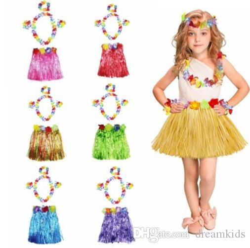 5PCS Set Flower Wristband Costume Kids Hawaiian Grass Skirt Luau Garland Headband Hula Fancy Dress Party and Festival DIY Decor 30cm