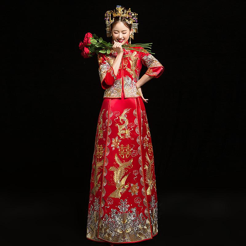 Red Bride Modern Cheongsam Chinese Traditional Dress Wedding Qipao Su Embroidery Dress Robe Chinoise Oriental Style Evening Gown