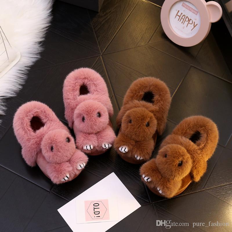Herbst winter Kinder Hause Schuhe Kinder Baumwolle Hausschuhe Für Mädchen Cartoon rutschfeste Hausschuhe Verdicken Warme Schuhe Baby 2 paar 4