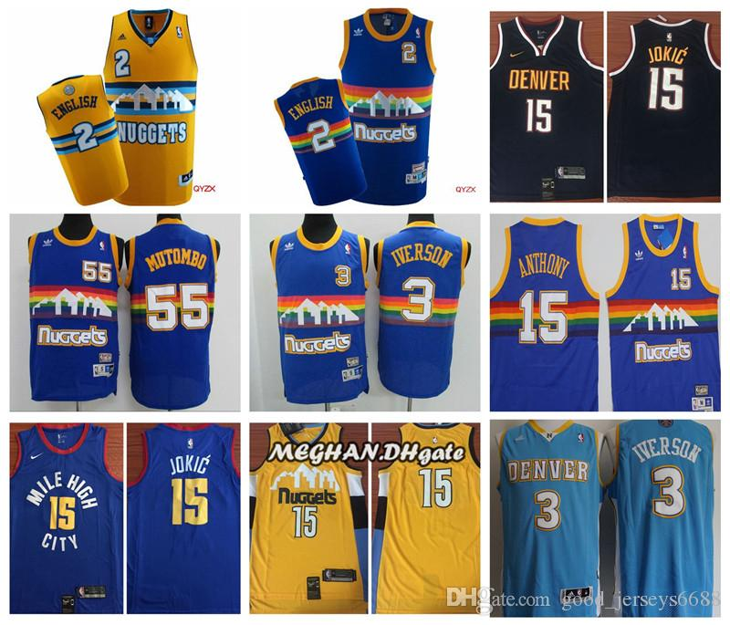 premium selection 3629e 99722 Newest 2019 Denver Nuggets Basketball Jersey #55 Dikembe Mutombo #3 Allen  Iverson 15 Nikola Jokic #2 Alex English Stitched Basketball Jersey