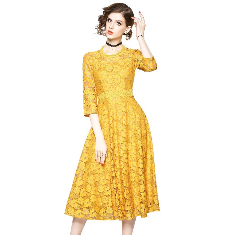 online store 62f49 7acfb Regina autunno abito di pizzo lavoro casual sottile moda O-collo sexy scava  fuori abiti rossi donne a-line abiti vintage