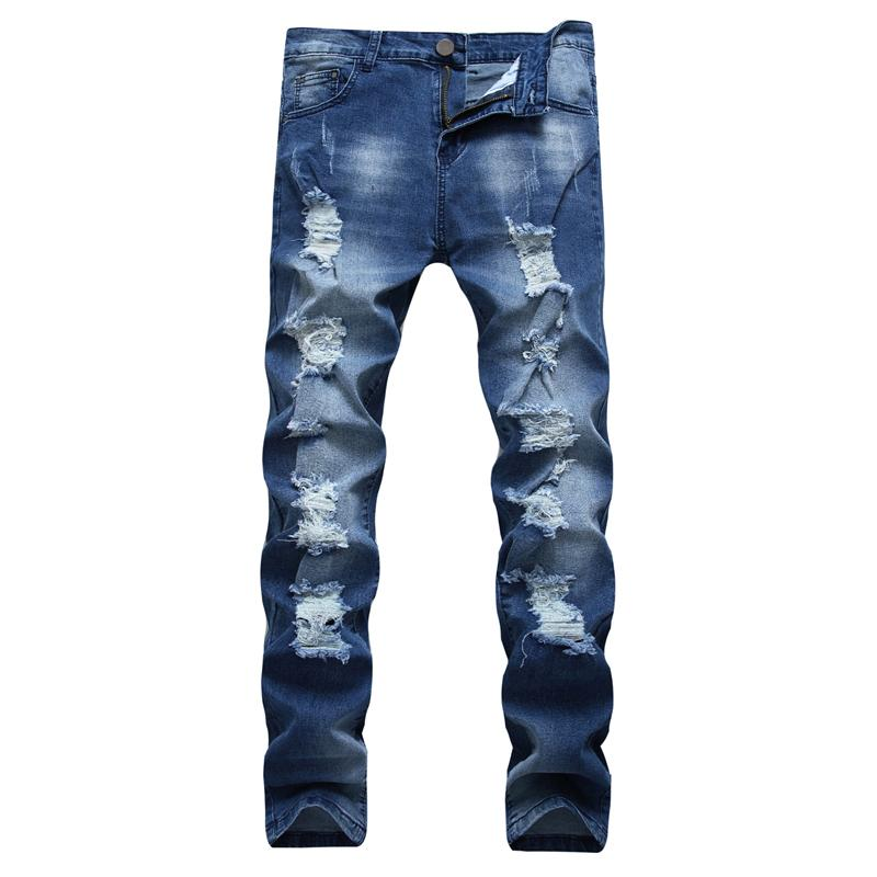 New Fashion Casual Mens SkinnyStretch Denim Pants Distressed Ripped Slim Fit Holes Jeans Trousers For Male Drop Shipping