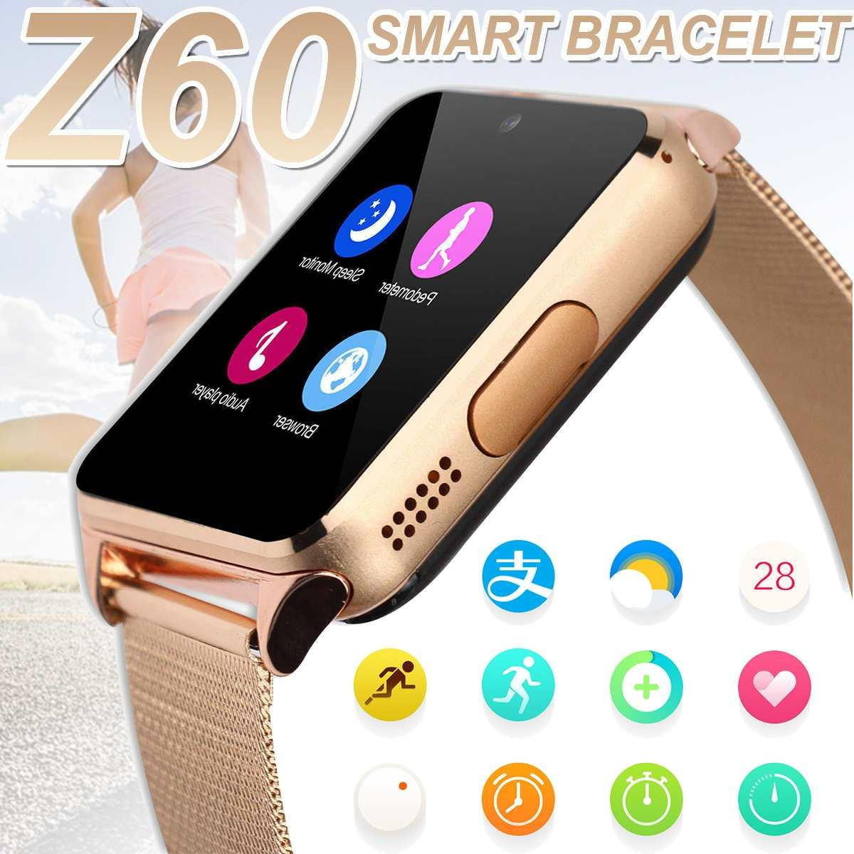 Bluetooth Smart Watches Z60 430mA Smartwatch Metal Wrist Strap Support 2G SIM TF Card Android IOS Clock Message Push Phone Watch