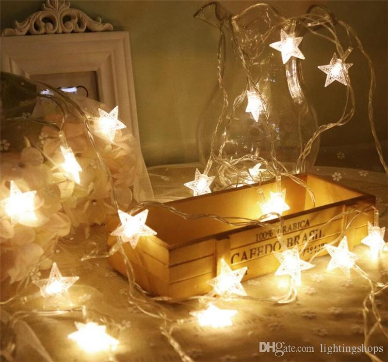 LED String Lights Fairy Light, LED Star Fairy Lights A forma di stella 10/20/40 LED Twinkle Lights Battery Operated