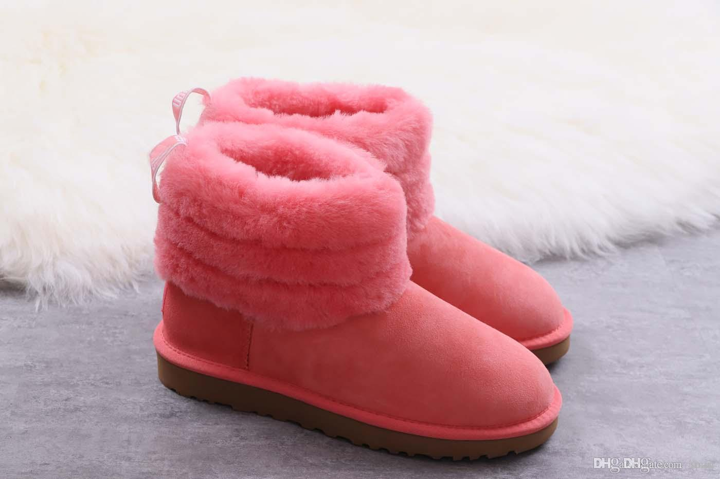 5a98608e083 NEW COZY Top Quality Sheep Fur wgg Women Australia Style Snow Boots CLASSIC  MINI FLUFF QUILTED BOOT Winter Genuine Leather Wool Boots