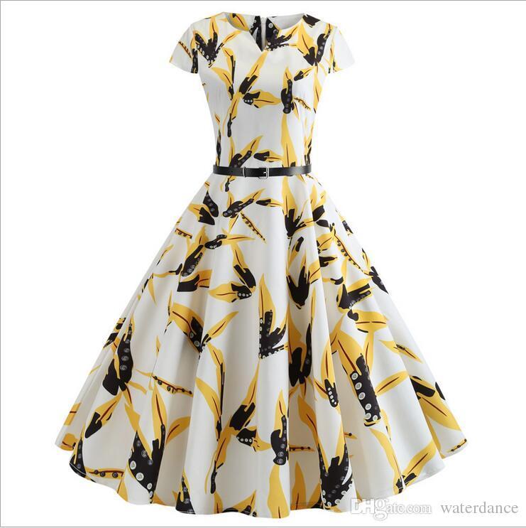 d0230bf699dff Hepburn style retro short-sleeved small V-neck print large swing dress  designer ladies dresse long skirt printed dress casual dress girl #10