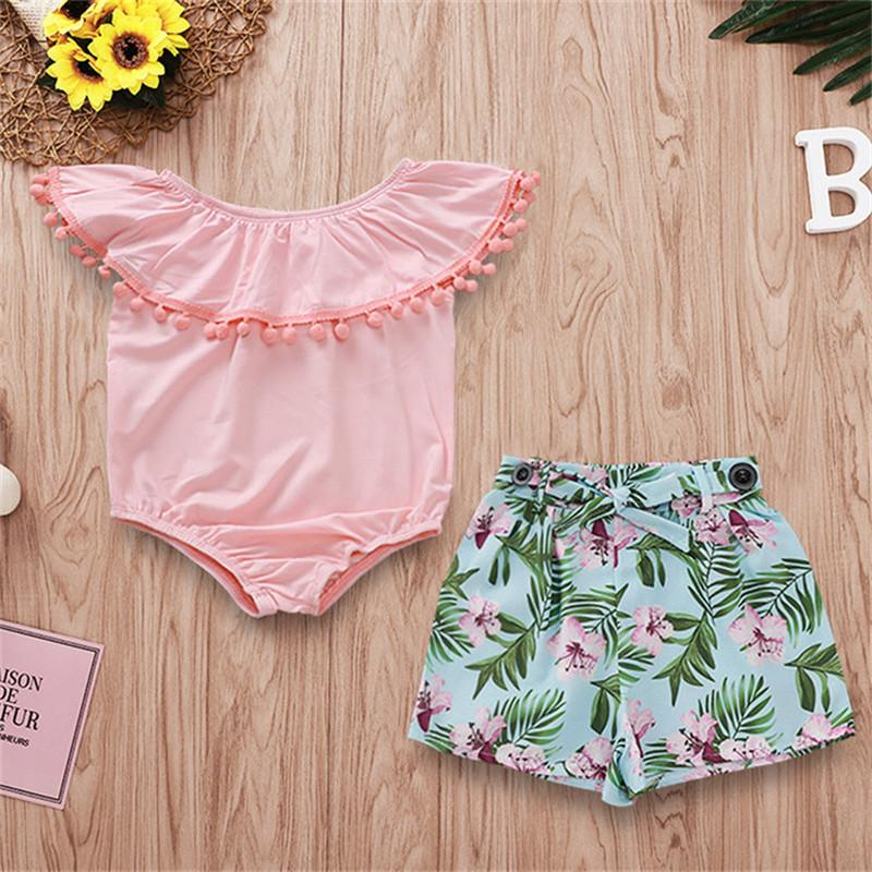 Baby Clothes 2PCS Set Kids Suit INS Girls Summer Falbala Sleeveless Rompers Jumpsuit Flowers Printed Short Pants Kids Clothing Q343