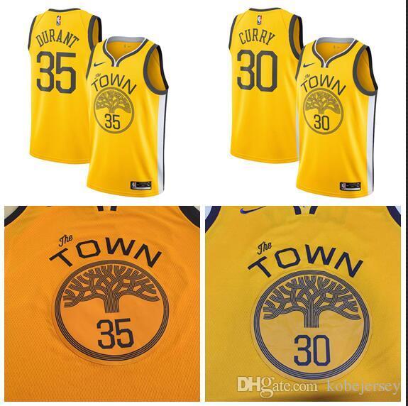 reputable site efd02 48af1 Men New Season Warriors Jersey 35 Durant 30 Curry Reward Edition Baketball  Jerseys - Yellow