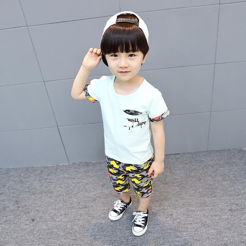 02028bdb44e0b Compre Ropa Para Bebés 2 7 Años Ropa Para Niños 2019 Nuevo Algodón Casual  Trajes Para Niños Camisas Estrella Pantalones Bebé Niños Ropa Conjunto A   37.31 ...