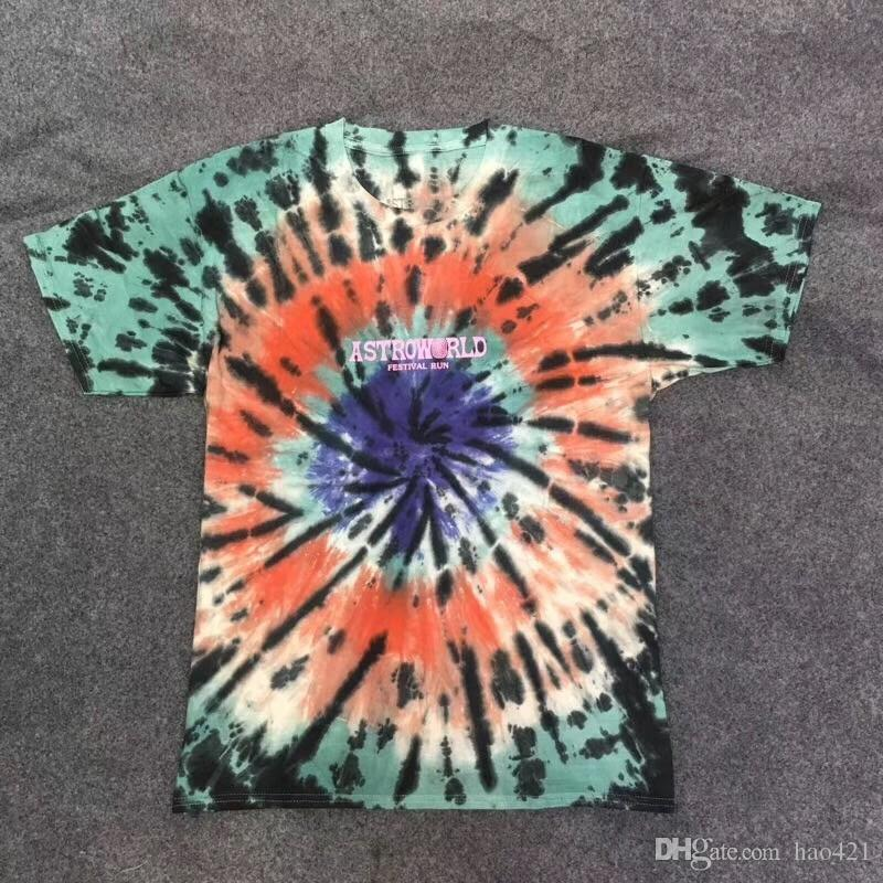 Travis Scott Astroworld Festival Run Tie Dye T shirt Men Women Top Tees Travis Scott ASTROWORLD T-shirts