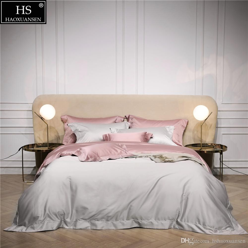 9ce74fb4a2 120S Egyptian Cotton Beige Pink Luxury Bedding Set King Queen Bed Sheet Duvet  Cover Pillowshams Simple Bright Romantic Girl Fine Bedding Grey And White  ...