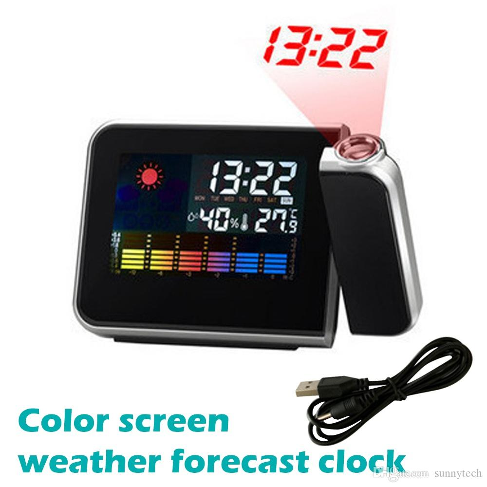LED Digital Projection Alarm Clock Temperature Thermometer Desk Time Date Display Projector Calendar USB Charger Table Led Clock LX2331