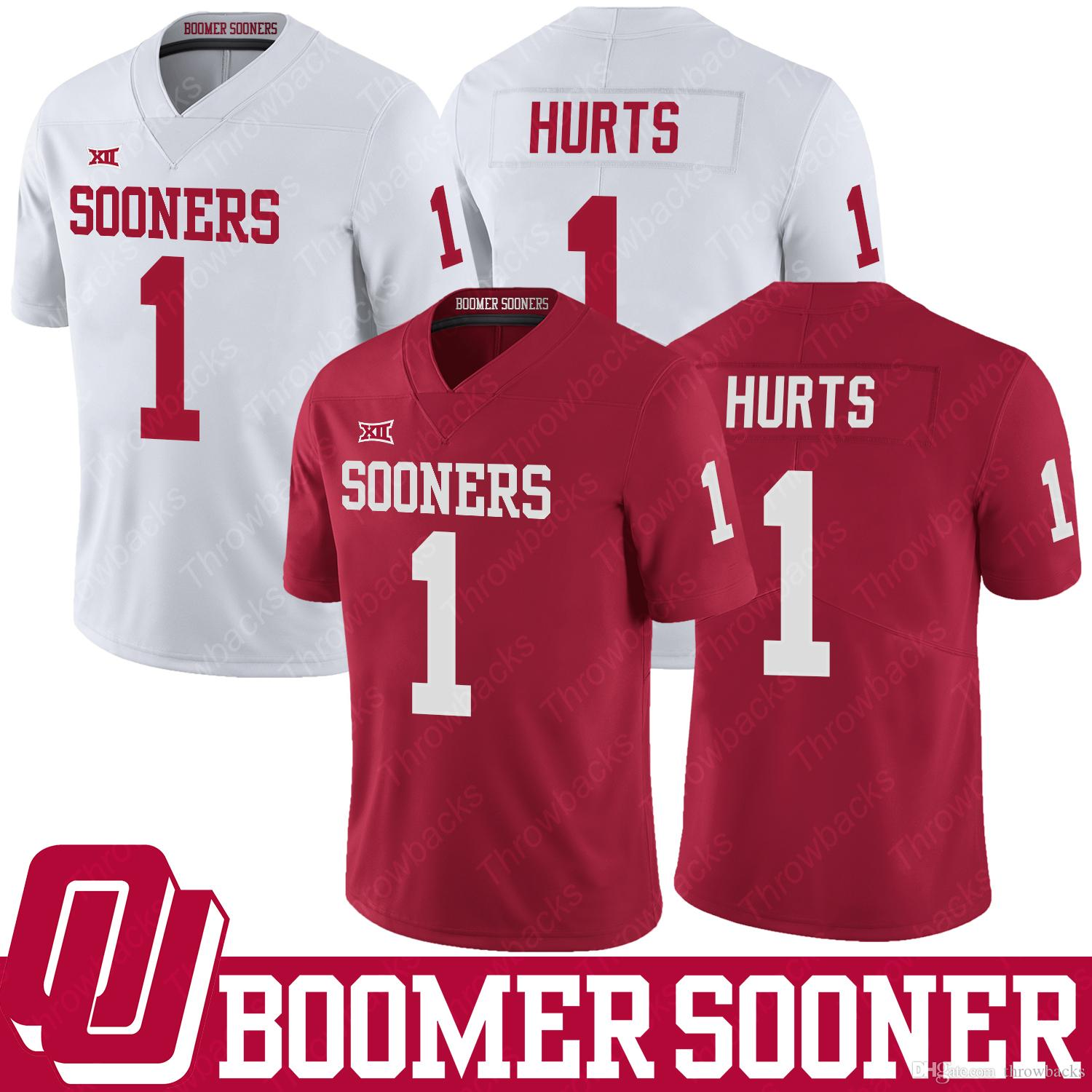 9878797eb57 2019 1 Jalen Hurts Oklahoma Sooners Jersey NCAA College Football Jerseys  Home Away Red White Men Size S XXXL From Throwbacks, $30.46 | DHgate.Com