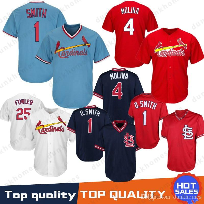 67f6a63e3d64 2019 1 Ozzie Smith St. Louis Cardinals Jersey 4 Yadier Molina 25 Dexter  Fowler Jerseys Embroidery Logos 100% Stitched From Dunkhomes
