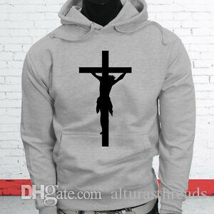 LOVE JESUS ​​CROSS RELIGION CHURCH CHRISTIAN ART Sudadera con capucha gris para hombre