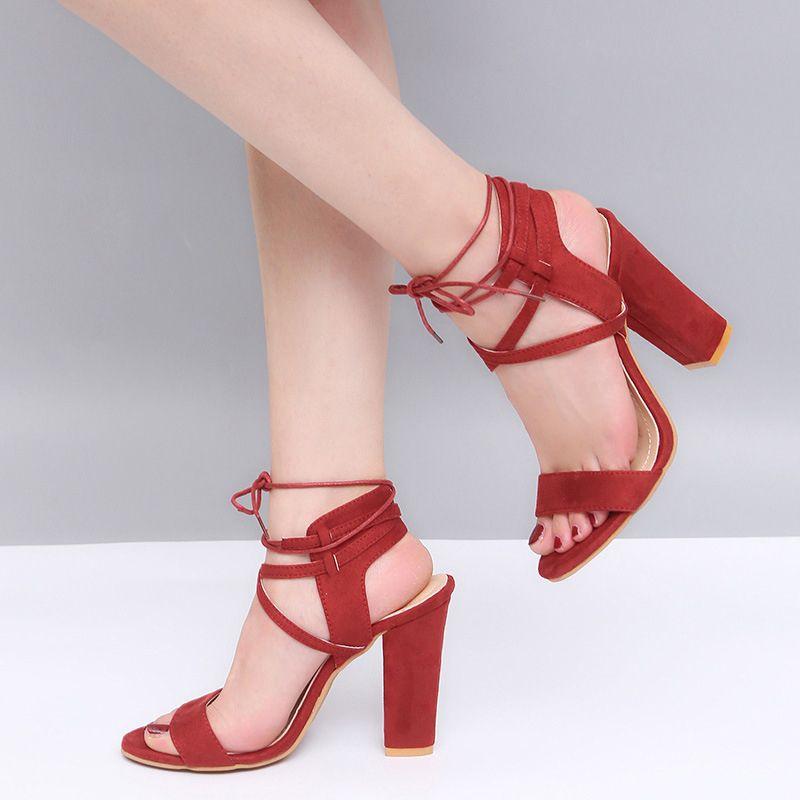 dcaaea0c7b97 Dress Women Pumps 2019 Spring High Heels Women Heels Wedding Shoes Women  Waterproof Shoes Ankle Strap Open Toe Sandal Plus Size 34 43 Mens Loafers  Formal ...