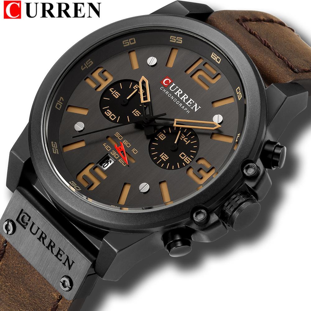 d427961993e9 Compre Curren Relojes Para Hombre Top Marca De Lujo A Prueba De Agua Deporte  Reloj De Pulsera Cronógrafo De Cuarzo Militar Cuero Genuino Relogio  Masculino A ...