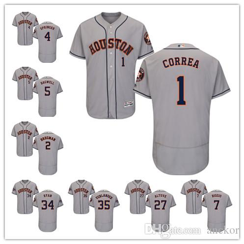 Houston 35 Justin Verlander 2 Alex Bregman 27 Jose Altuve Astros Majestic 2019 Jackie Robinson Day Official Cool Base baseball Jersey