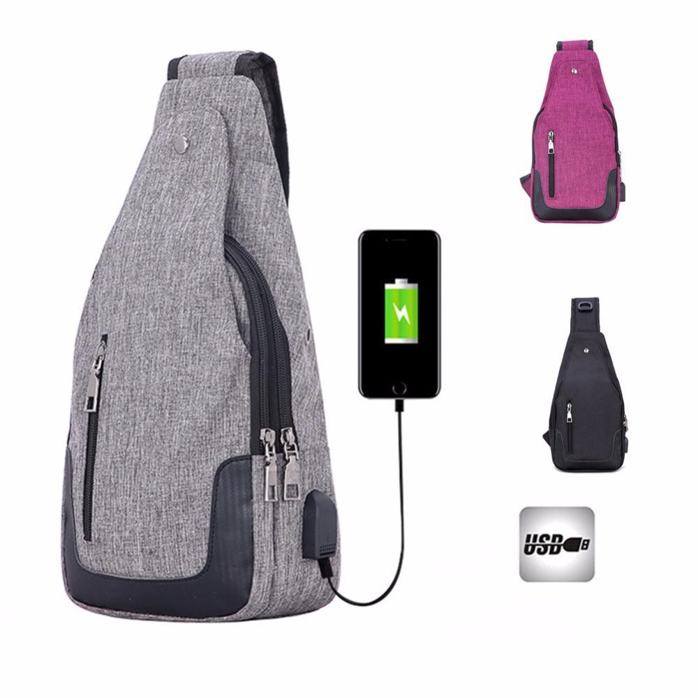 8c46b52084 Acquista Versatile Canvas Sling Bags Borsa A Tracolla Uomo USB Charging  Crossbody Donna Borse Da Viaggio