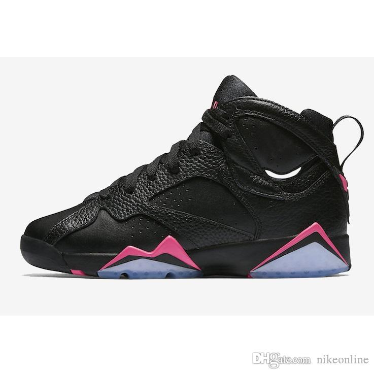 011dde374cc9 2019 Cheap Womens Jumpman 7 VII Basketball Shoes 7s Hyper Pink Sweater  White Black French Blue Bobcats J7 Sneakers Boot For Youth Kids Boys Girl  From ...