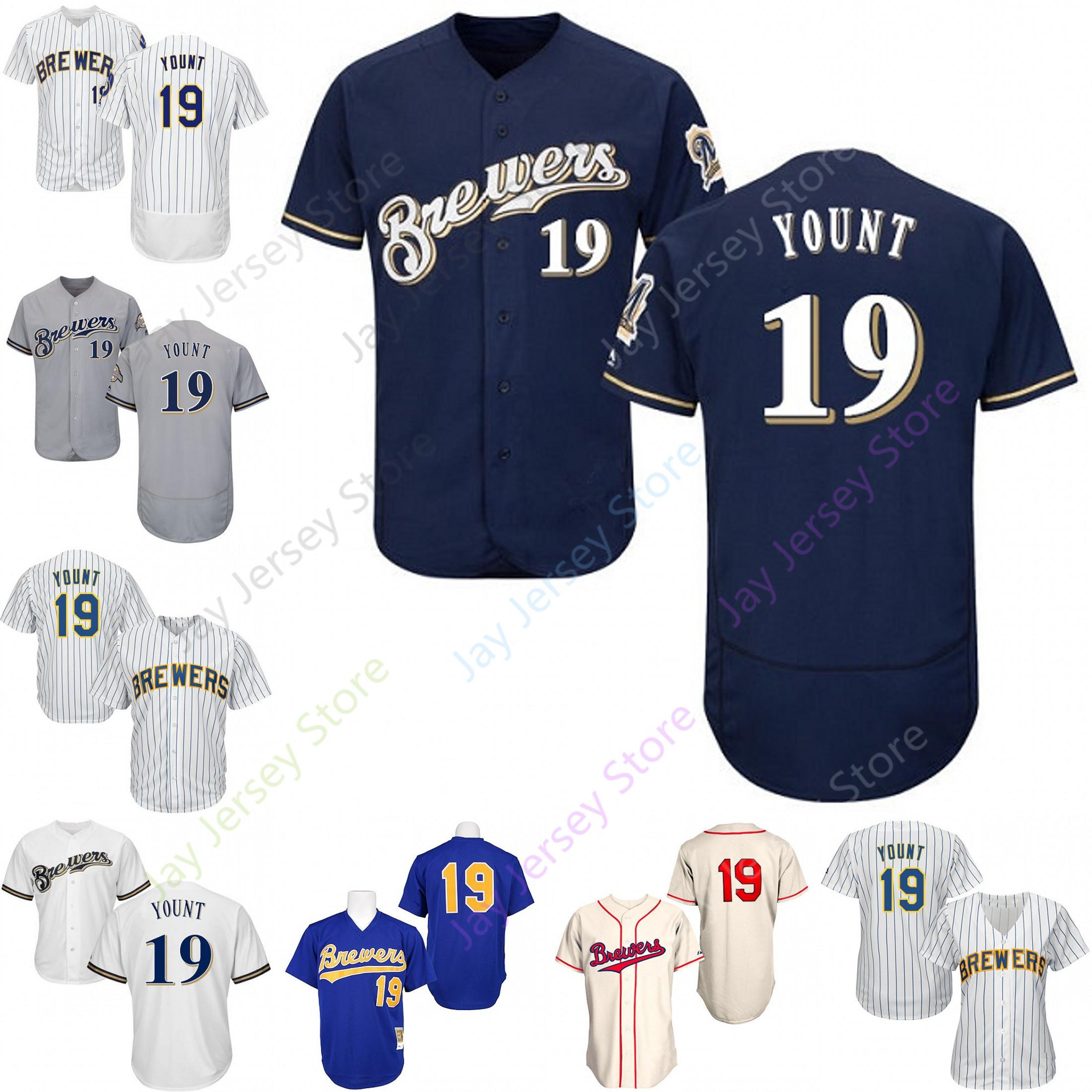 new style b4f74 b6750 Custom Milwaukee 19 Robin Yount Jersey Brewers Jerseys Cool Base Flexbase  White Black Red Grey Home Away Men Women Youth All Stitched