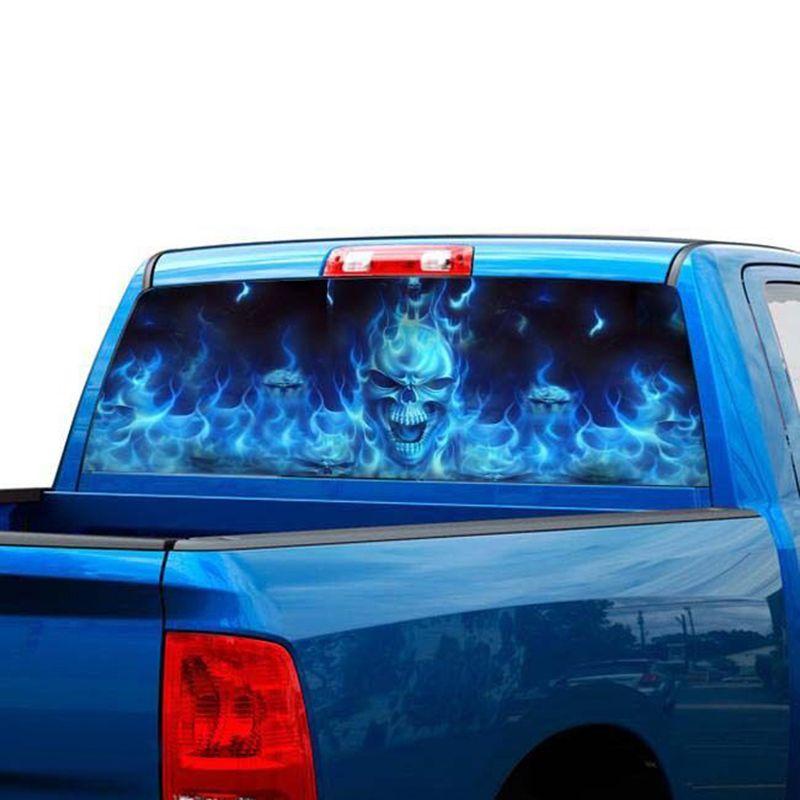 Auto Aufkleber Flaming Skull Heckscheibe Grafik Aufkleber Aufkleber Auto Lkw Suv Van Aufkleber