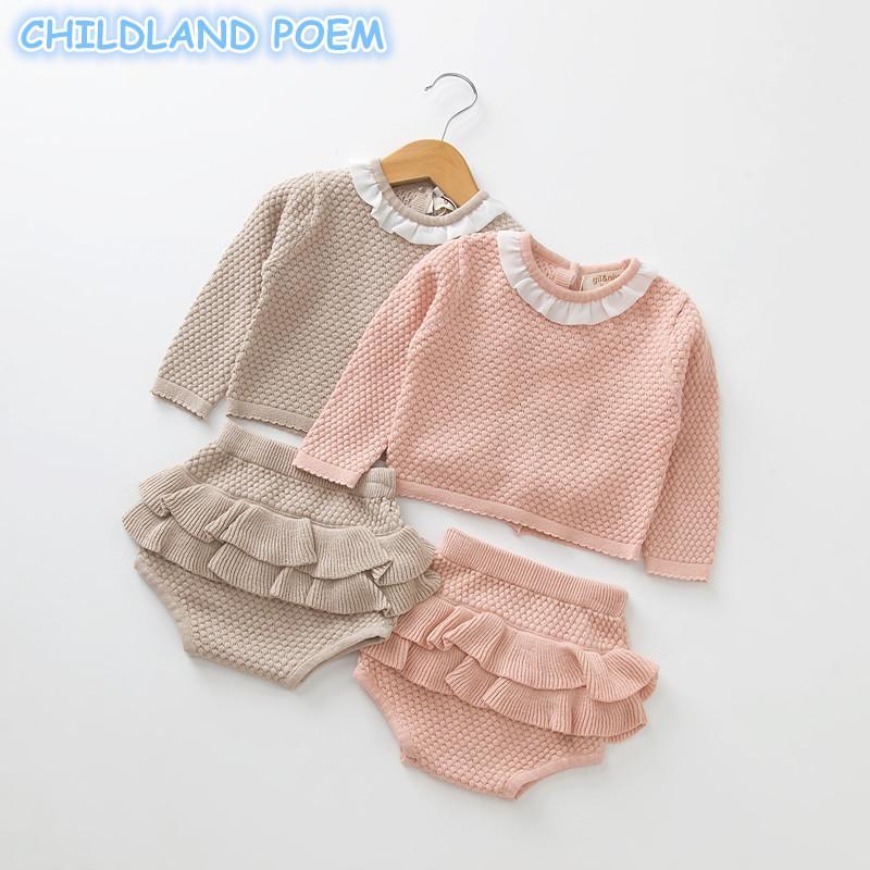 530fa0a2ea Meninas do bebê Meninos Roupas conjunto De Malha Do Bebê Recém-nascido  Roupas Sweater + Shorts 2 pcs Roupas Pregueado Primavera Inverno Criança  Bebê Set ...