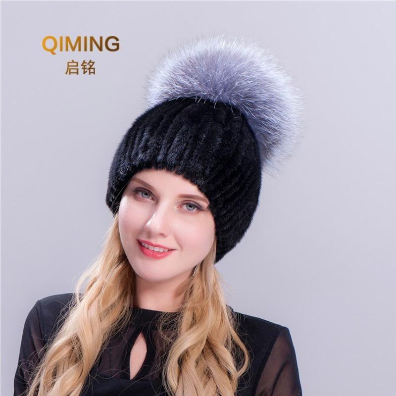 6a6d36636 Autumn Winter Pom Pom Girls Women Cap Pompom Straw Weave Hat Fox Hair Ball  Keep Warm Fashion Pompon Earmuffs Beanies
