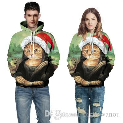 Harajuku Spoof Mona Lisa hoodie Couple de Noël 2019 impression d'hiver Cat Couples plus Taille Sweat-shirt oversize Vêtements 5XL