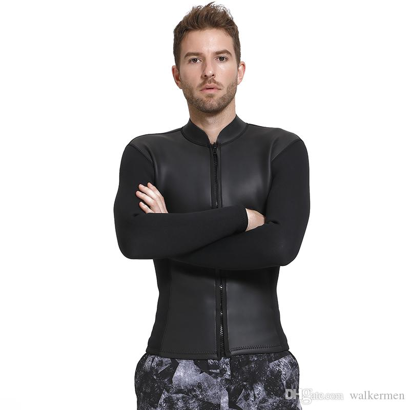 3MM Neoprene Wetsuit Jacket Men Long Sleeve Full Zipper Super ... c40ab7657
