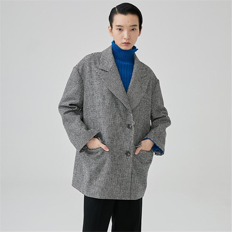 timeless design 4fbbf 81fc7 Cappotto di lana donna Inverno Cappotto di lana pied de poule bianco e nero  Cappotto casual donna Cappotto SL4