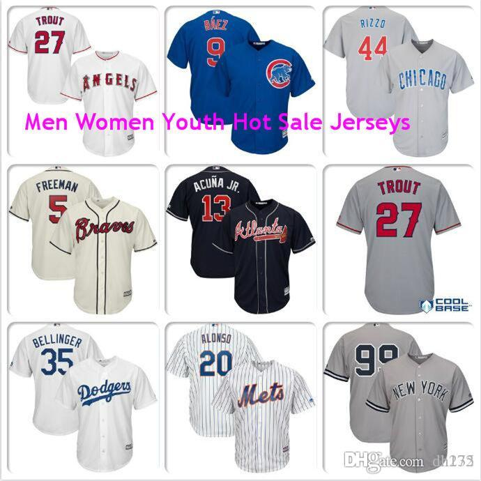 Mens Cody Bellinger Mike Trout Aaron giudice Javier Baez Anthony Rizzo Pete Alonso Los Angeles Dodgers Angeli maglie ufficiali di baseball libera