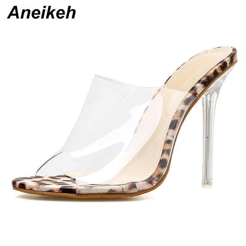60c18923086 Compre Vestido Aneikeh Zapatos Grandes Tamaño 41 42 Sandalias Con Estampado  De Leopardo Tacones Altos Con Punta Abierta Mujeres Zapatillas De Plexiglás  ...