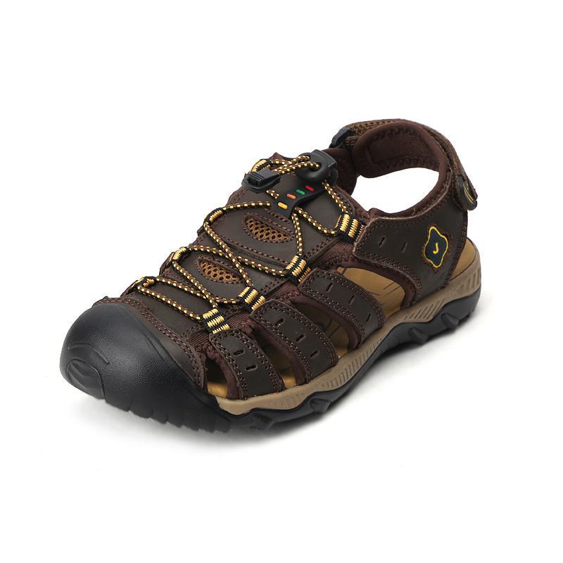 8e81a734eff Compre Sandalias Para Hombre Confort Casual Cuero Auténtico Clásicos  Primavera Verano Sandalia Hombres Zapatillas De Deporte Antideslizantes De  Playa Al ...