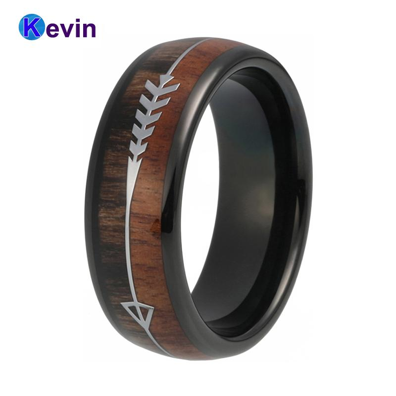 Tungsten Wedding Rings.8mm Tungsten Wedding Band Black Wedding Ring For Men And Women With Double Wood And Steel Arrow Inlay Band