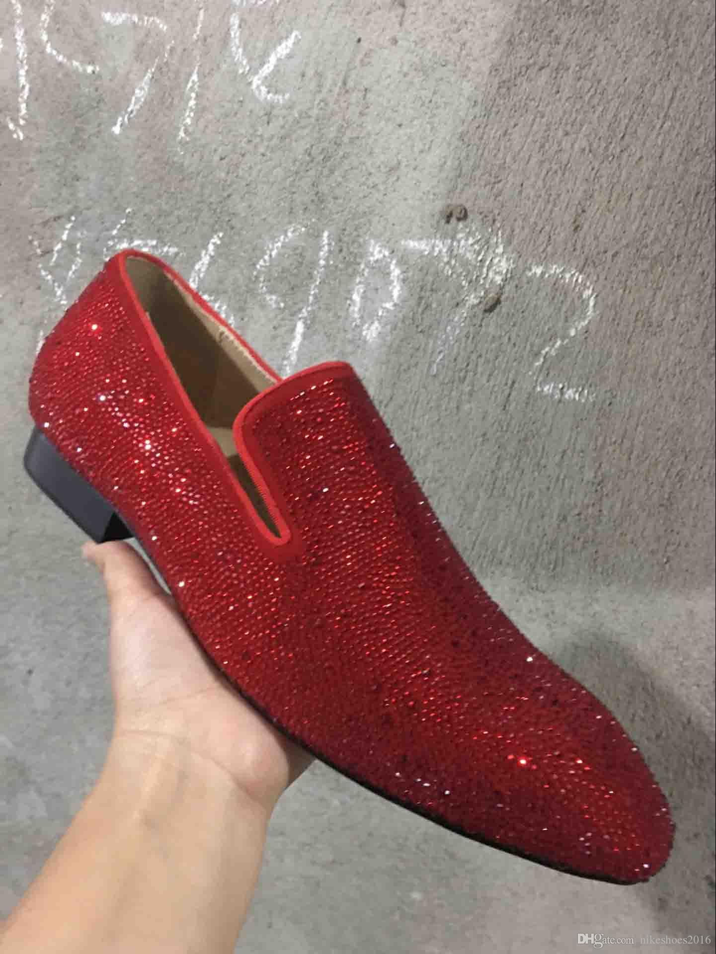 69666d16252 Luxury Party Wedding Man Shoes Red Bottom Loafers Suede With Rhinestone  Strass Dress Shoes For Mens Slip On Flats Designer Brand