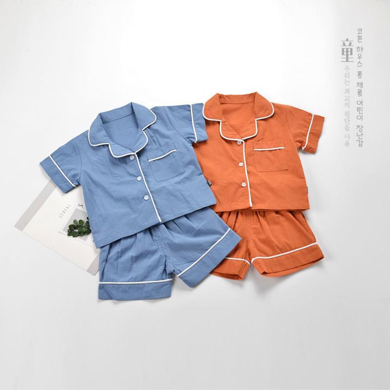 Compre Moda Bebé Niño Pijamas Conjuntos De Ropa Suave 100% Algodón Dar  Vuelta Abajo Cuello Niños Desgaste En Casa 2 6 Años Niños Niñas Camisas  Pantalones ... aae062c83371