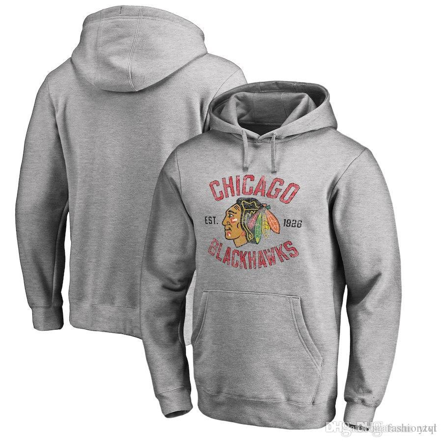 0a8adefcf53c43 2019 2018 New Men S Women Youth Chicago Blackhawks Grey Ash Heritage Ice  Hockey Pullover Hoodies Sweatshirts