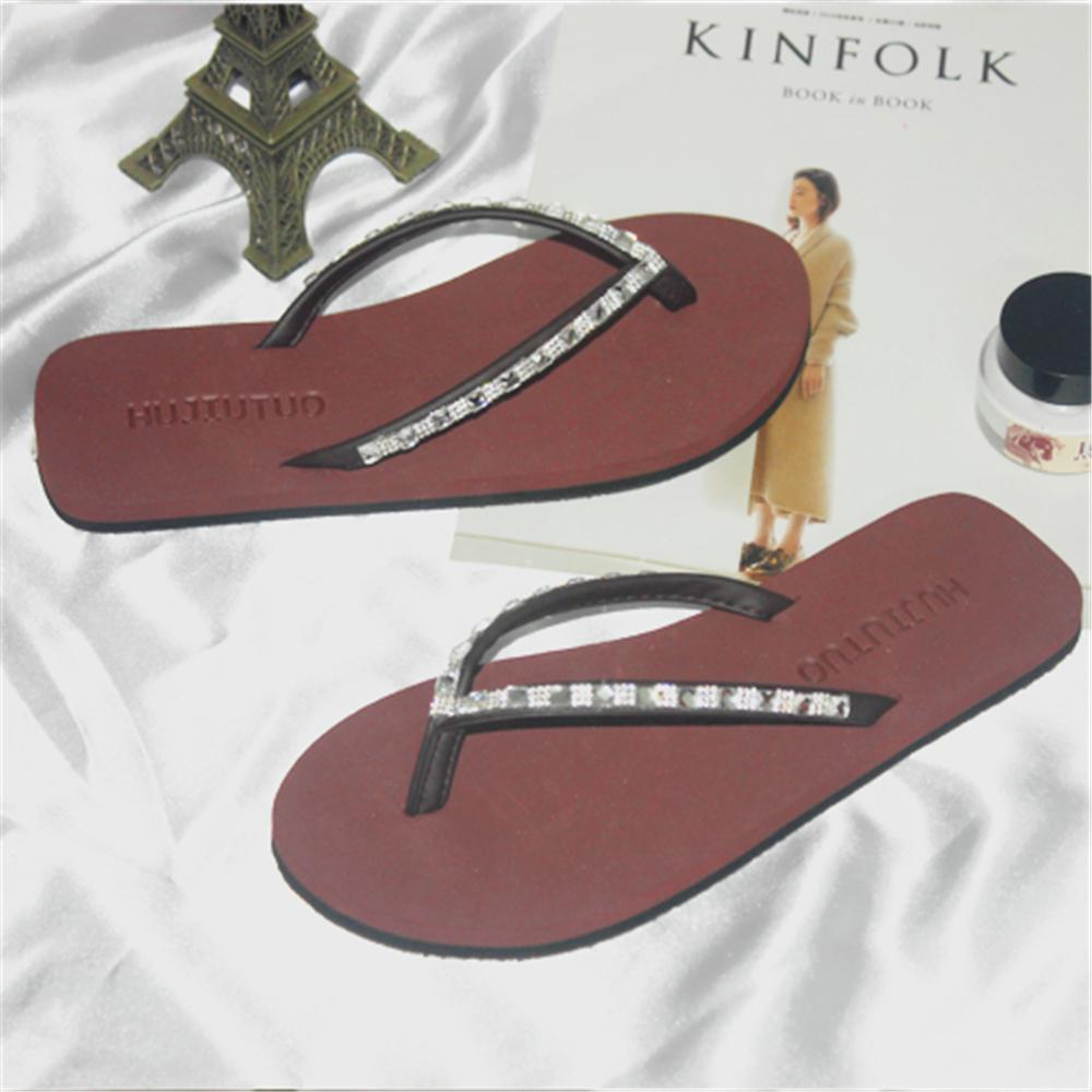e90f37c91d03f 2019 European new summer fashion sandals women's shoes flat with flip feet  slippers ladies simple flip flops womens Vacation