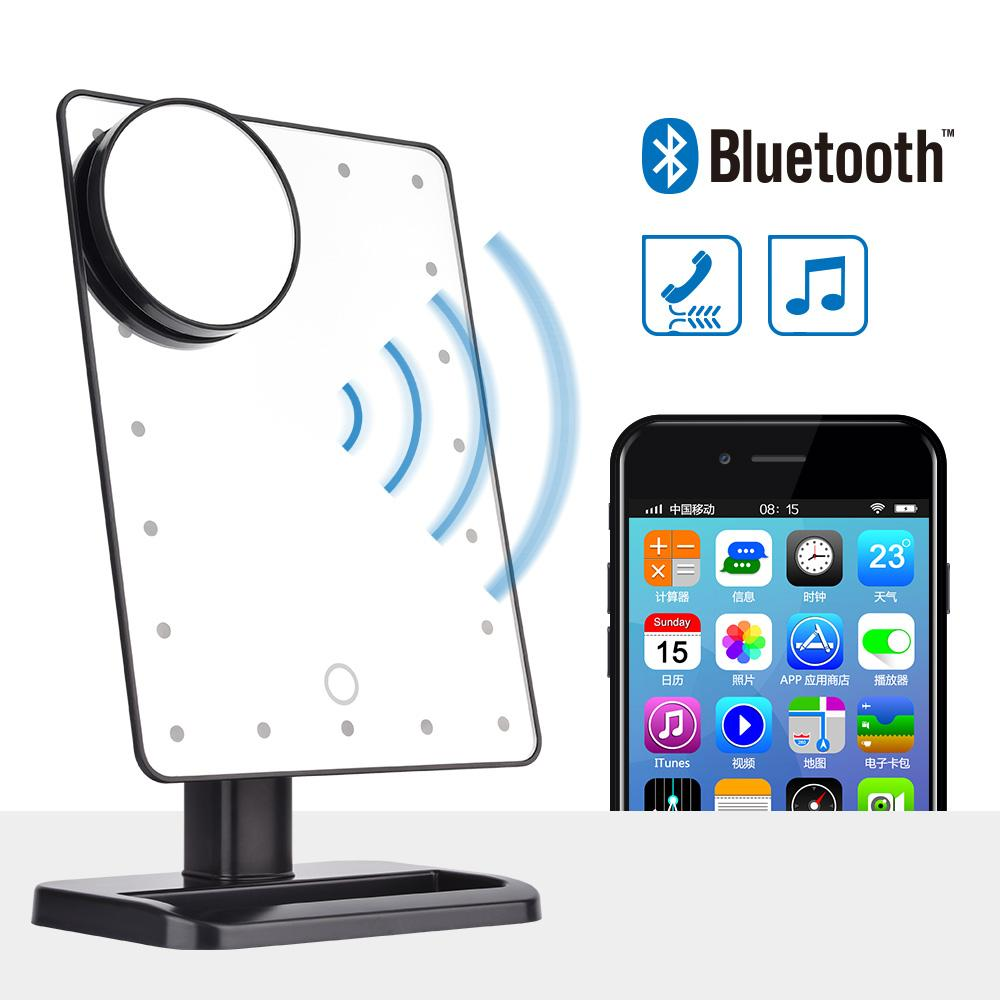 Bluetooth Speaker LED Makeup Mirror Smart Musical 20 Lights Touch Screen  Adjustable Vanity Makeup Mirror with 10x Magnifier