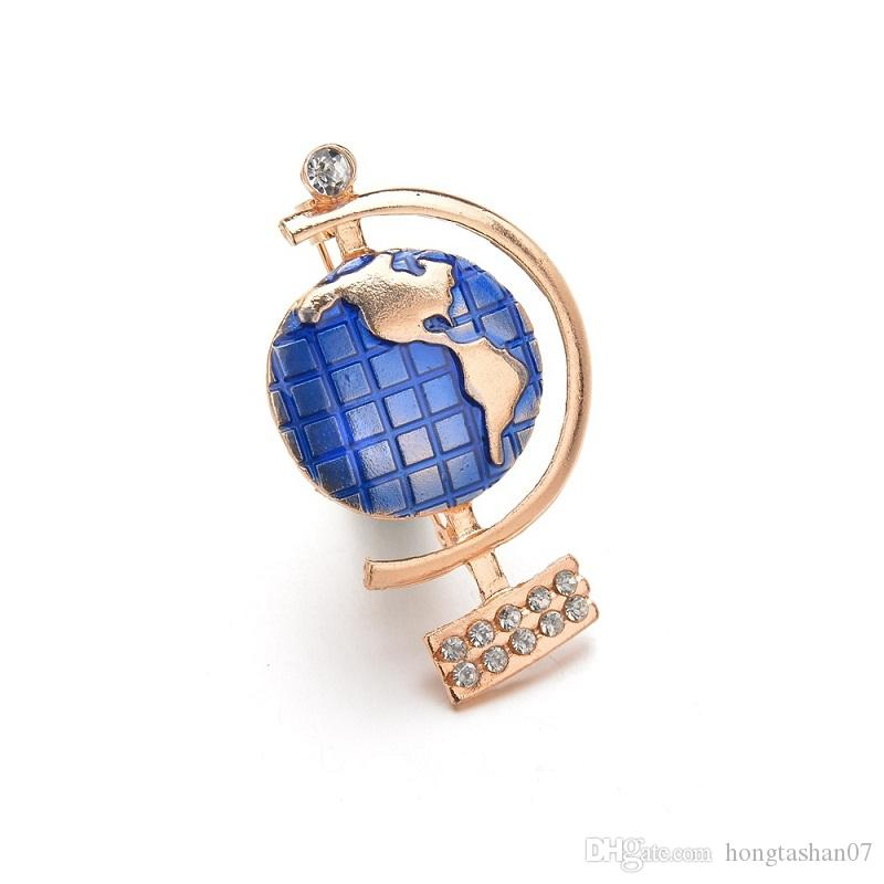 High Quality Enamel Blue gold Globe Brooch Pin Badge best Gifts for Women Rhinestone Brooches Suit Accessories b214