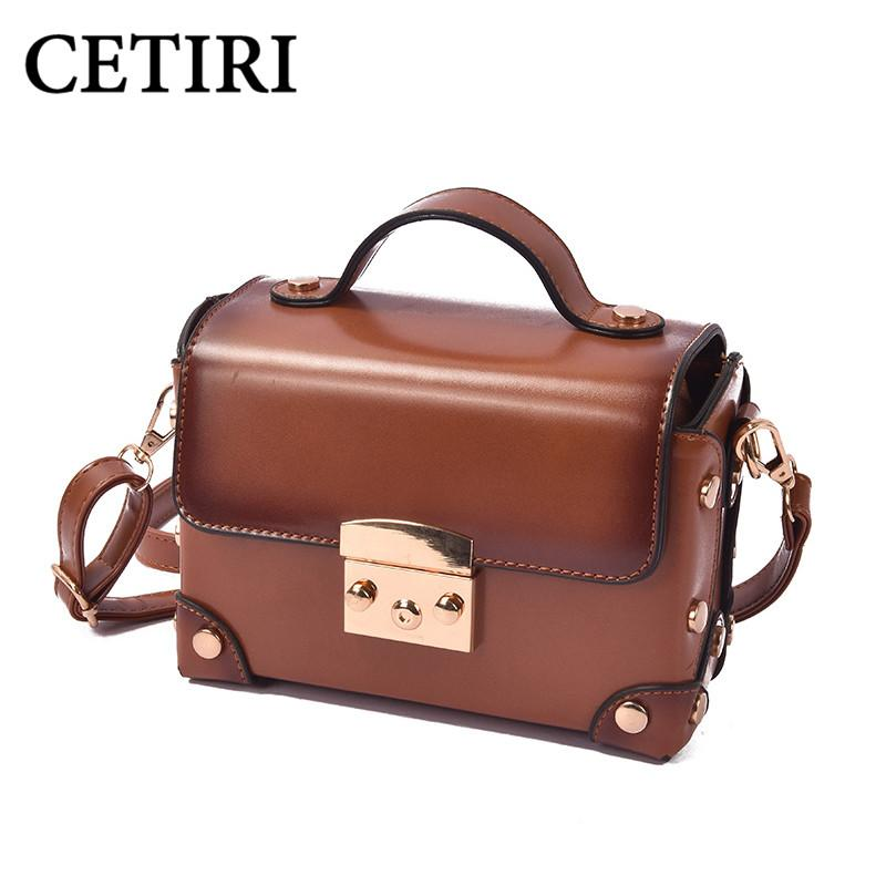 a9c699b40e1 Women Famous Brand Box Handbag Fashion Trunk Luxury Pu Leather Bag Small  Mini Vintage Retro Design Oil Skin Lock Tote Brown Bags
