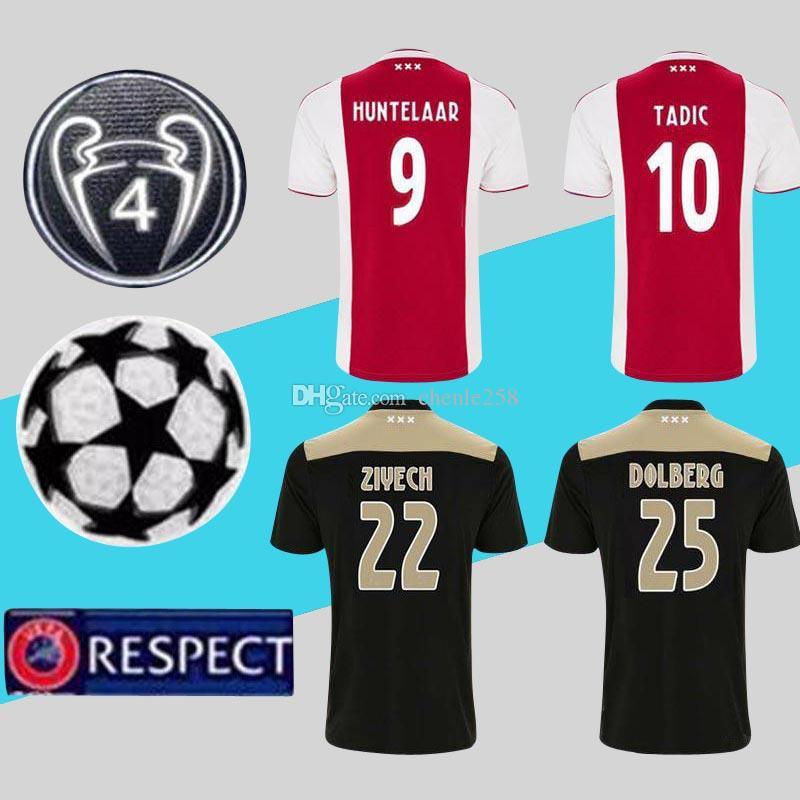 b1af050d7 2019 Ajax Jersey Champions League 2019 Home Red Away Soccer Shirt 18 ...